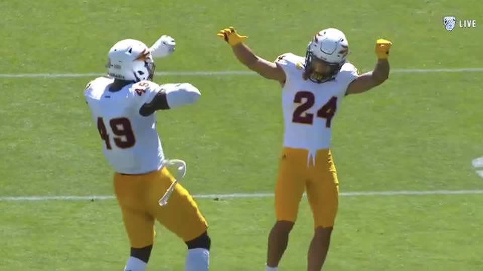 Defensive back Chase Lucas mic'd up for Arizona State's Maroon and Gold Practice