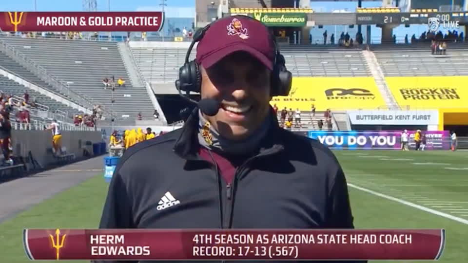 Herm Edwards discusses Arizona State Football's Maroon & Gold Practice
