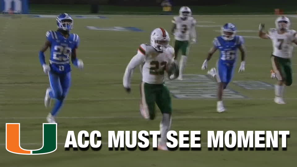 Miami RB Cam'Ron Harris Is Untouched On 34-YD Touchdown Run | ACC Must See Moment