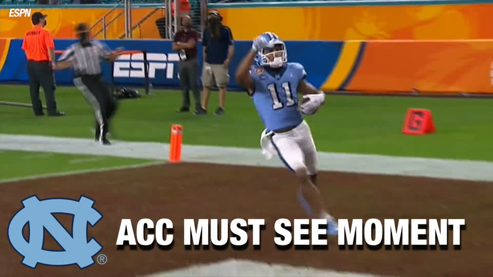 Sam Howell Bombs It To Josh Downs For A Touchdown | ACC Must See Moment