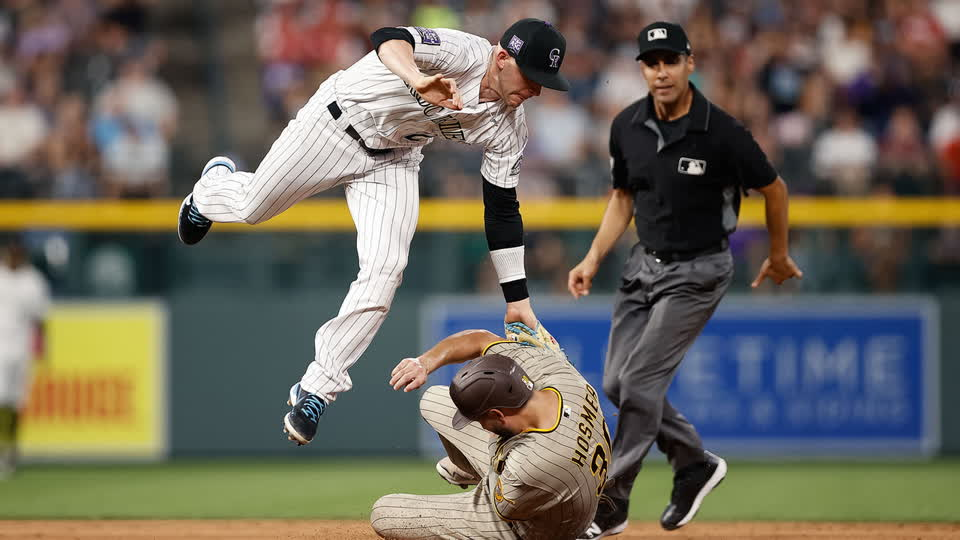 Trevor Story Makes Tough Leaping Tag
