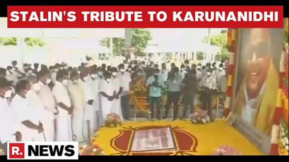 TN CM MK Stalin Pays Floral Tribute To M Karunanidhi On The Occasion Of His 98th Birth Anniversary