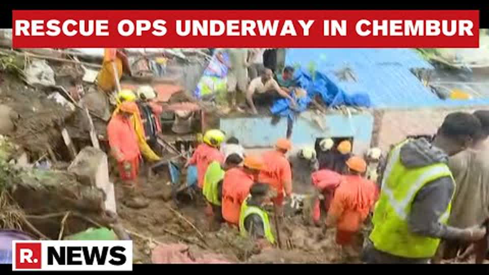 Rescue Operation In Chembur Underway After Wall Collapses On Shanties Due To Incessant Rainfall