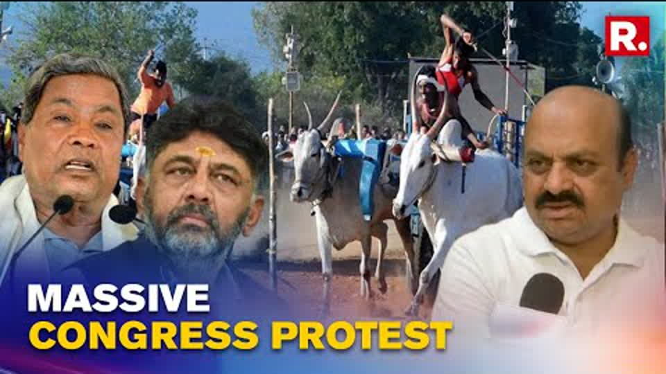 Karnataka: Congress Stages Protest Against Fuel Price Hike, March Towards Assembly In Bullock Carts